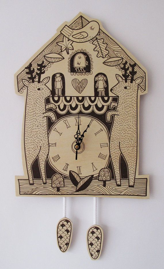 Clock with deers. #design  Looking for interesting design? Try: http://designersko.pl/