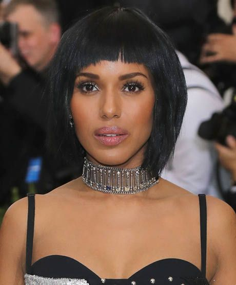 The best celebrity bangs for diamond faces: How fierce did Kerry Washington look at the 2017 Met Gala? Her layers and short bangs beautifully rounded out her diamond-shaped face.