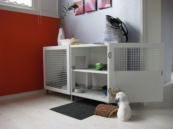 Ikea cupboard converted into an indoor rabbit hutch. Made by Evelien Lulofs