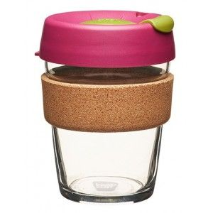 KeepCup medium glass cup cork band 12oz (340ml) – cinnamon | Biome