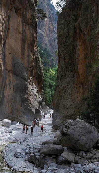 Samaria gorge is located in the south of Chania (18 km), Crete Island, Greece