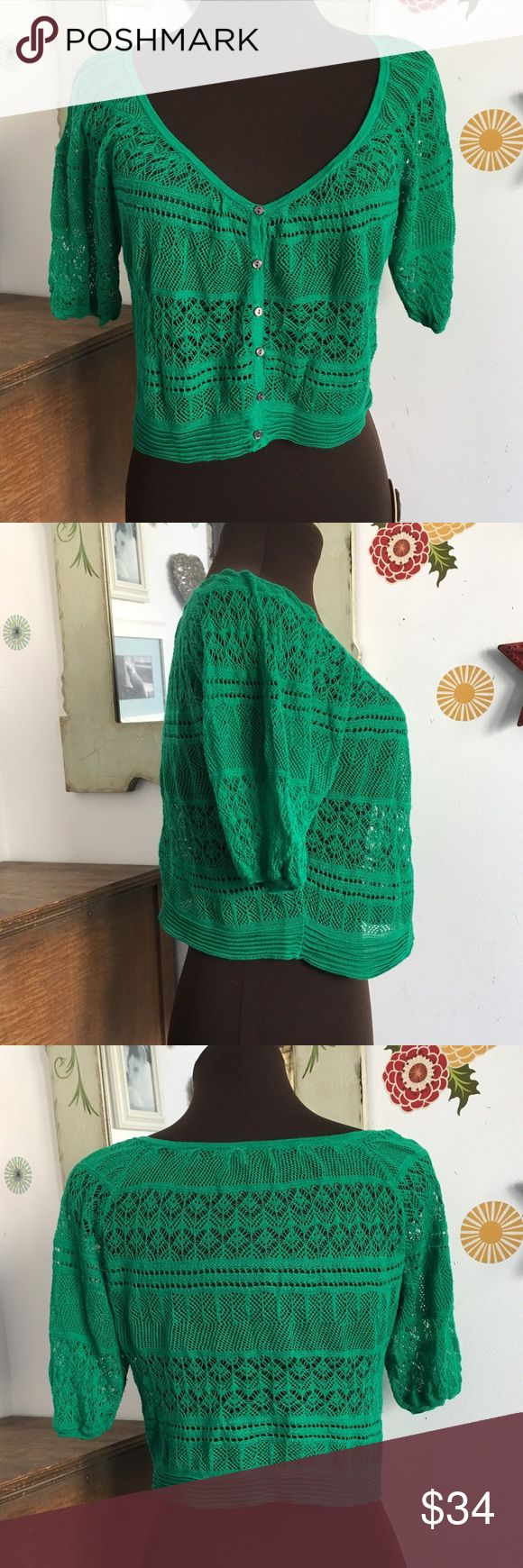 """Free People Cardigan Open Knit Button Down Sweater Beautiful vibrant green cardigan is perfect for spring! Lightweight and delicate knit is great to wear over a sleeveless top to the office or with a pretty dress on a night out. Size tag is cut out but measures 44"""" at the bust and is 17"""" long. Free People Sweaters Cardigans"""