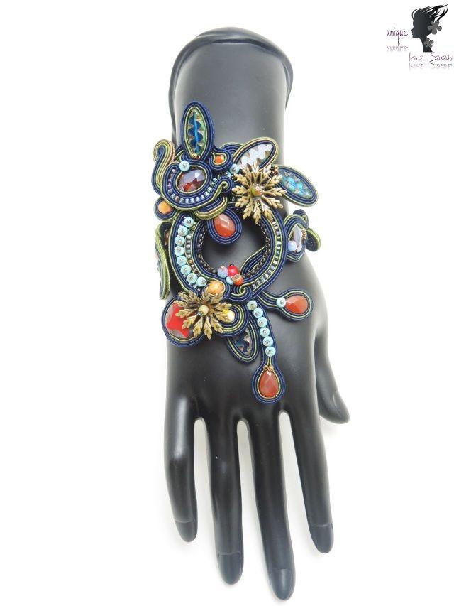 ソウタシエ ソウタシエブレスレット 「ブルー」 「送料無料」 soutache bracelet Agness
