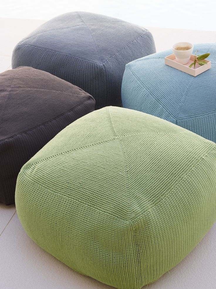 "Handmade #beanbags - The ""Divine"" footstool is available in 4 beautiful colours - green, brown grey and  turquoise.  #caneline #outdoor #beanbag #footstool"