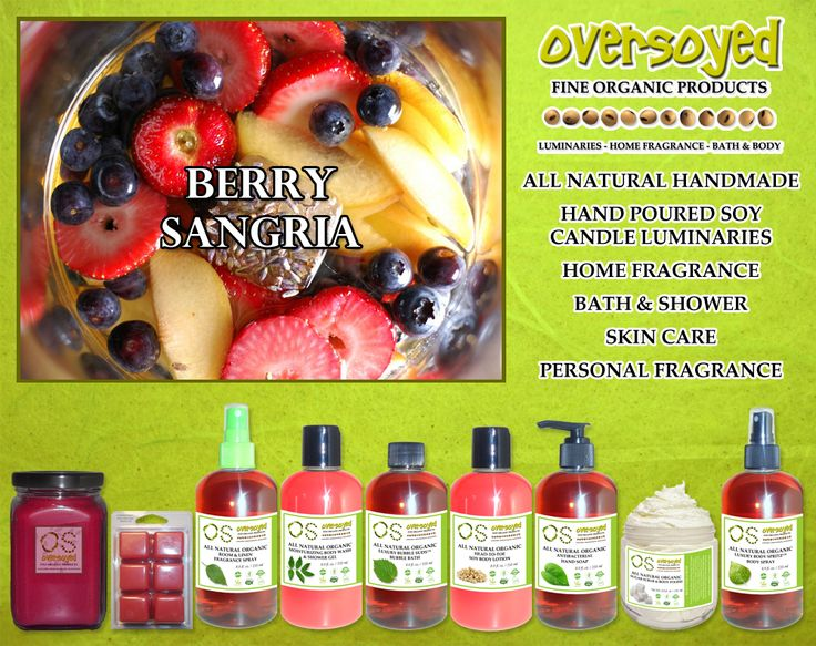 Berry Sangria (Compare To Bath & Body Works®) Product Collection - A refreshing melody of strawberry, raspberry, blueberry, and citrus with touches of pomegranate, blackberries and sugar. #OverSoyed #BerrySangria #Candles #HomeFragrance #BathandBody #Beauty