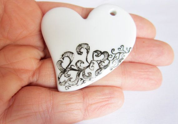 Heart Black and White ceramic pendent  OOAK by ile1974 on Etsy, €16.00