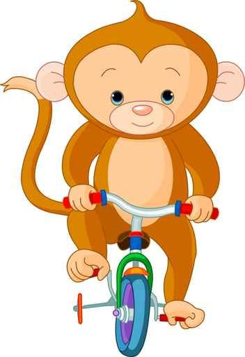 Monkey  on Bicycle Wall Decal