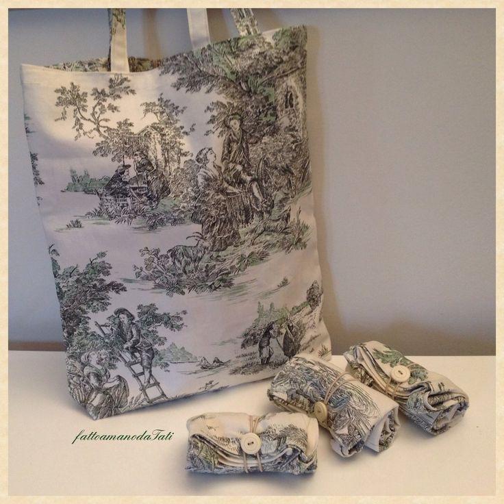 Shopping bag richiudibile in cotone con scene campestri verdi, by fattoamanodaTati, 12,00 € su misshobby.com