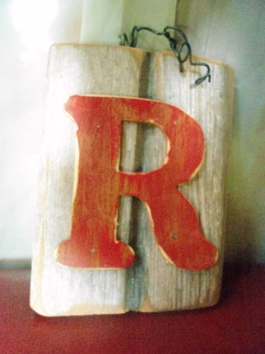 Vintage Letters Wall Decor : Wall decor wooden letter quot r on vintage board backing