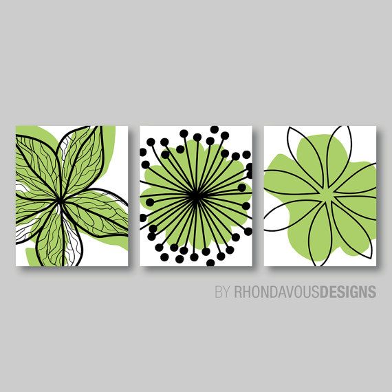 Lime Green Black Flower Print Trio Home by RhondavousDesigns2