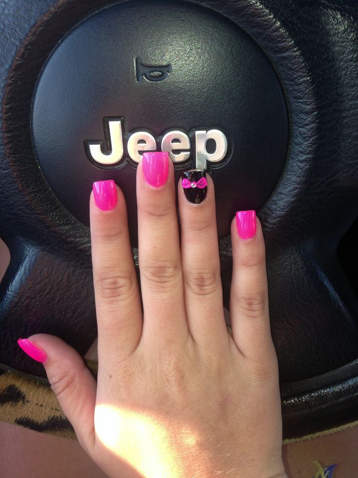 Pink and black nails with bow