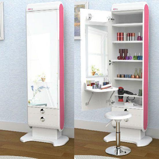 Elegani Beauty Box Vanity Table Lights Shelf Drawer Standing Mirror Makeup Hair #Elegani