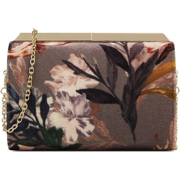 Nine West Emora Clutch ($69) ❤ liked on Polyvore featuring bags, handbags, clutches, nine west clutches, chain strap purse, brown handbags, floral print handbags and brown purse