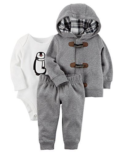 Carter's Baby Boys 3 Piece Cardigan Bodysuit and Pants Set, Penguin Toggle, 6 Months
