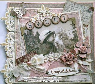 een mooie vintage roze kaart