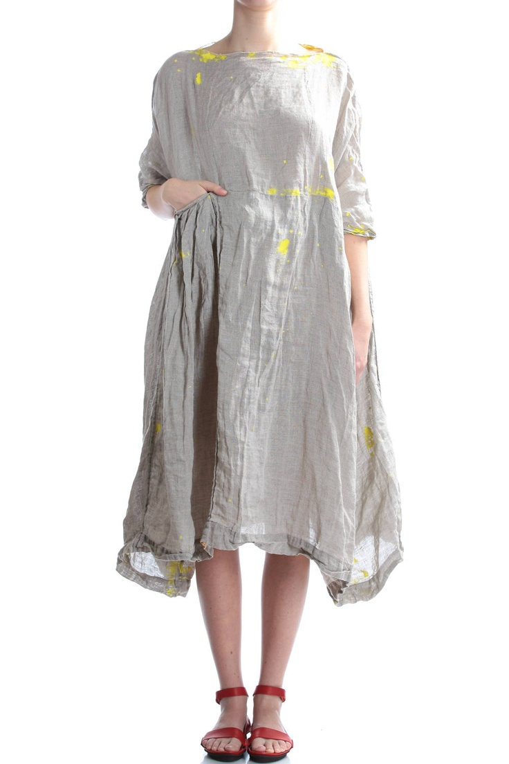 DANIELA GREGIS - Hand Painted Linen Dress :: Ivo Milan