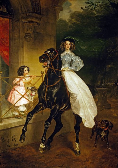 "russianpaintings:  ""  Karl Bryullov. A Rider.  1832. State Tretyakov Gallery, Moscow.  Depicts the sisters Giovannina and Amazilia Pacini, the charges of Countess Yu.P. Samoilova, with whom Bryullov had a close friendship. What is important in the..."