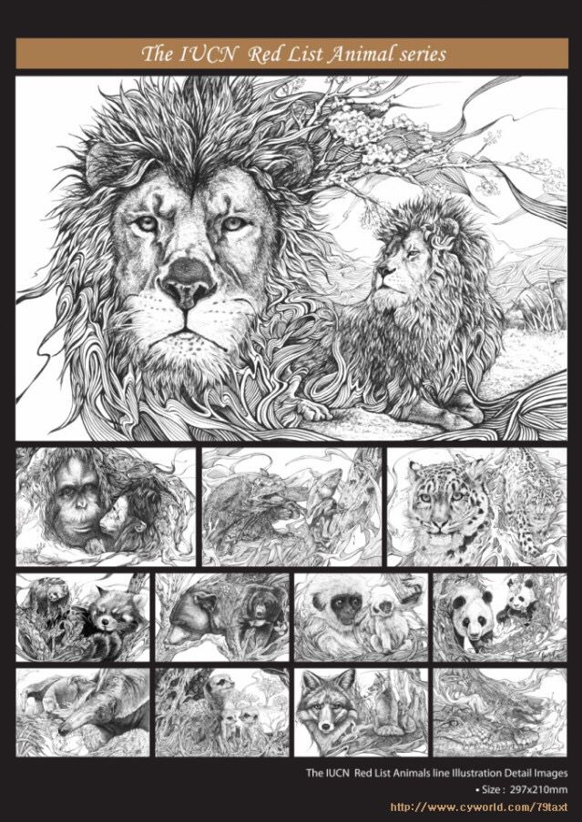 2012 SOKI 공모전 출품작 - the IUCN red list animal line illustration-detail all image.