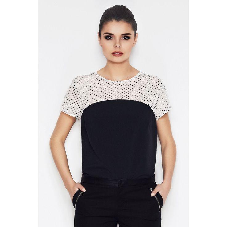 Bluza casual neagra crem de dama Awama #reduceri #prettymodaro #magazin #online