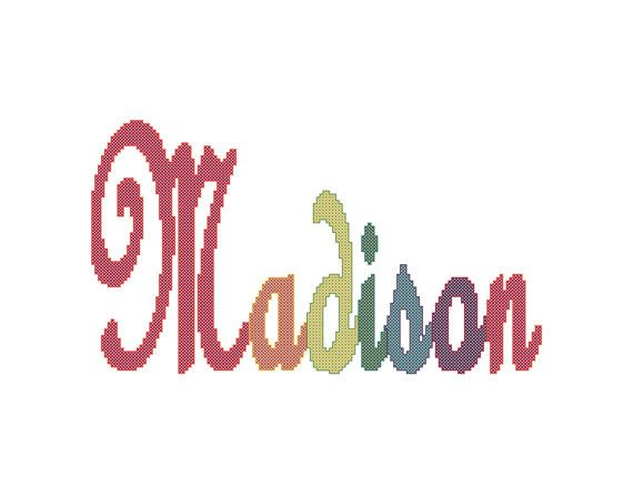 Rainbow Name Cross Stitch Pattern Large to by oneofakindbabydesign, $6.95