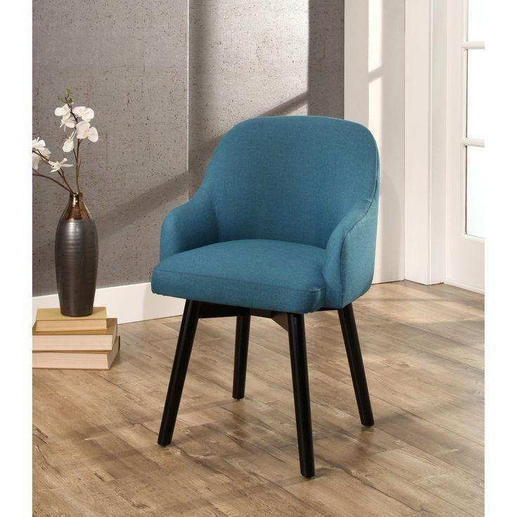 Abbyson Abbott Upholstered Swivel Dining Chair (Green - teal) (Wood)