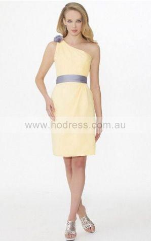 Chiffon One Shoulder Natural A-line Knee-length Bridesmaid Dresses 0740494