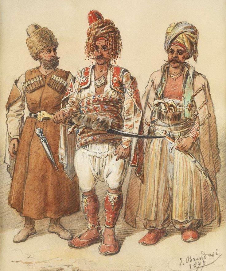'Başıbozuk' / Bashibazouks, Irregular Soldiers of the Ottoman Army, 1877. From left to right: Caucasian, Zeybek (Izmir region), Arab.
