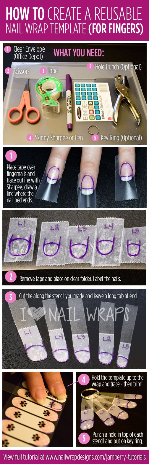 Do you dread trimming your Jamberry nail wraps because it takes so much time and effort each time? Stop starting over each time you do your nails and create a reusable Jamberry nail wrap template! This template is easy to make, cheap to create, and simple to use! It's great for properly sizing Jamberry nail wraps, as well as trimming off extra length on french tips or Jamberry NAS designs. No more tape method!  >>Buy 3, Get 1 FREE!  Order yours at: http://msjamgirl.jamberrynails.net/shop/