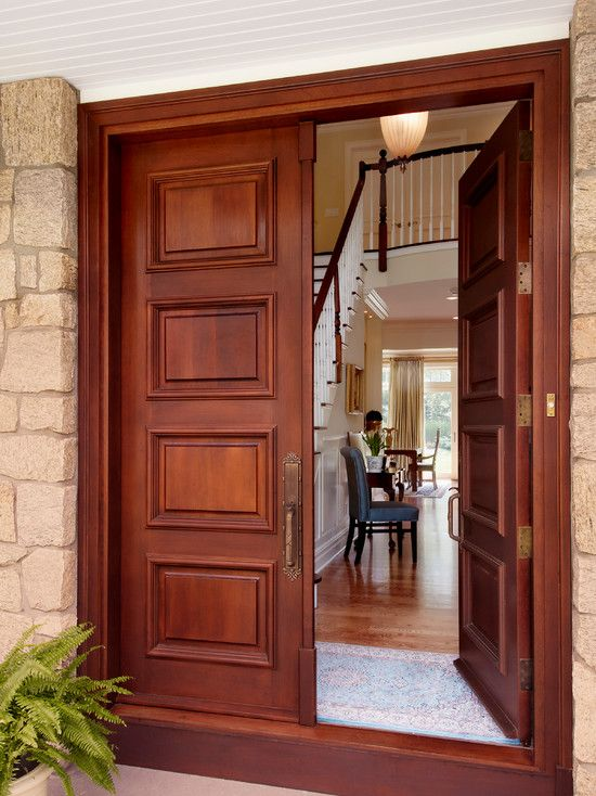 Astounding Double Front Doors For Homes Combined With Magnificent Landscape : Admirable Wooden Double Front Doors For Homes Using Stone Wall...