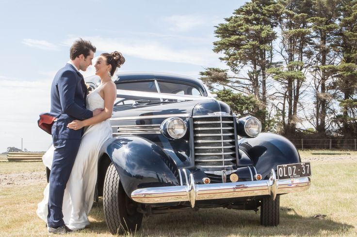 Johanna Watts Wedding Photography  Bride and Groom and there Vintage car on the day