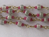 Brass and Seed bead Hand wrapped chain Stone green and Fushia Pink BSBC004