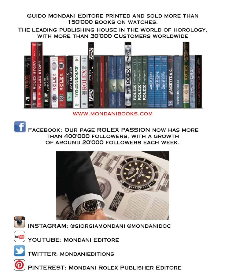 Guido Mondani Editore printed and sold more than 150'000 books on watches.