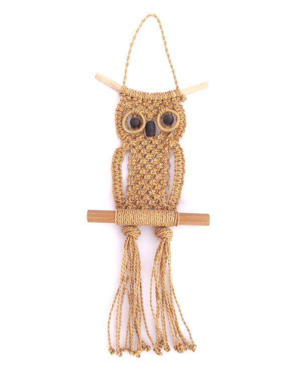 Vintage 1970s decorative woven sisal macrame owl wall ...