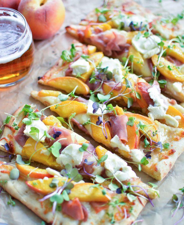 Prosciutto Flatbread with IPA Caramelized Peaches | www.cookingandbeer.com | @jalanesulia