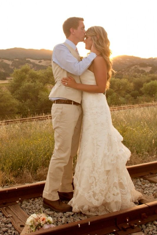 Sunset on the railroad tracks - love her dress!!