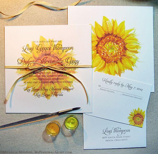 Unique Painted Sunflower Wedding Invitation Kit