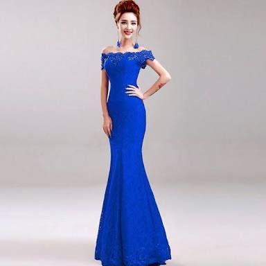 Resultado de imagen para vestidos largos azul rey con encaje