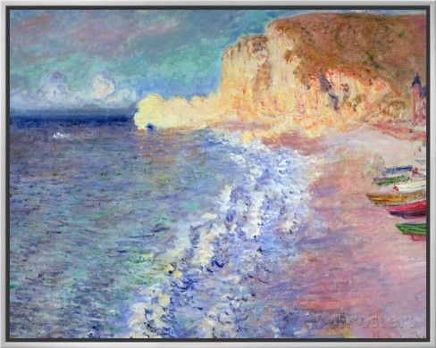 Morning at Etretat, 1883 Framed Canvas Print by Claude Monet at AllPosters.com