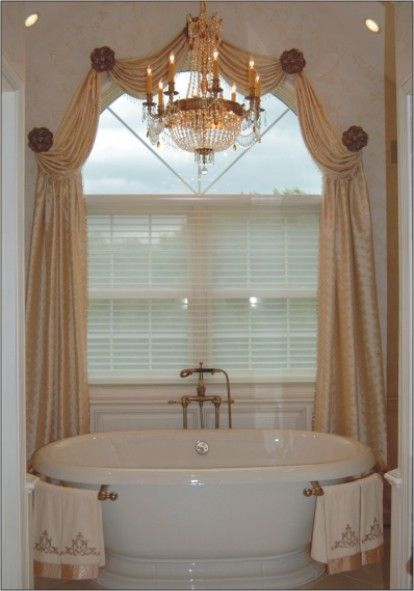 Voile curtains provide a stunning backdrop for this for Bathroom curtains window treatments