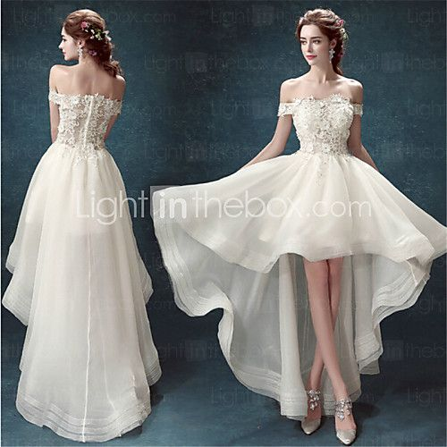 A Line Asymmetrical Wedding Dress Off The Shoulder Organza Usd 139 99 Beloved In 2018 Pinterest Dresses And