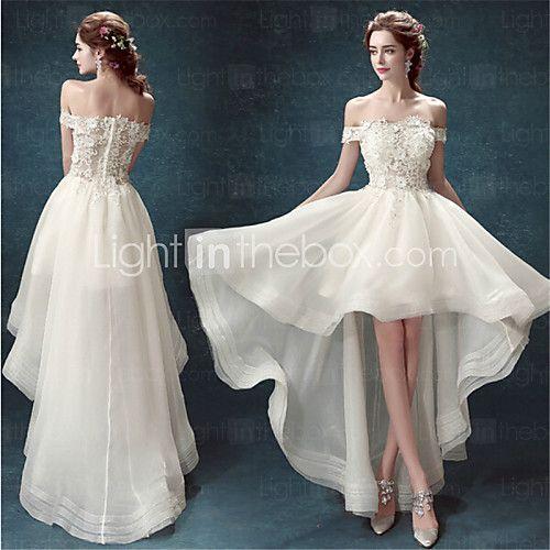 A-line Asymmetrical Wedding Dress - Off-the-shoulder Organza - USD $139.99