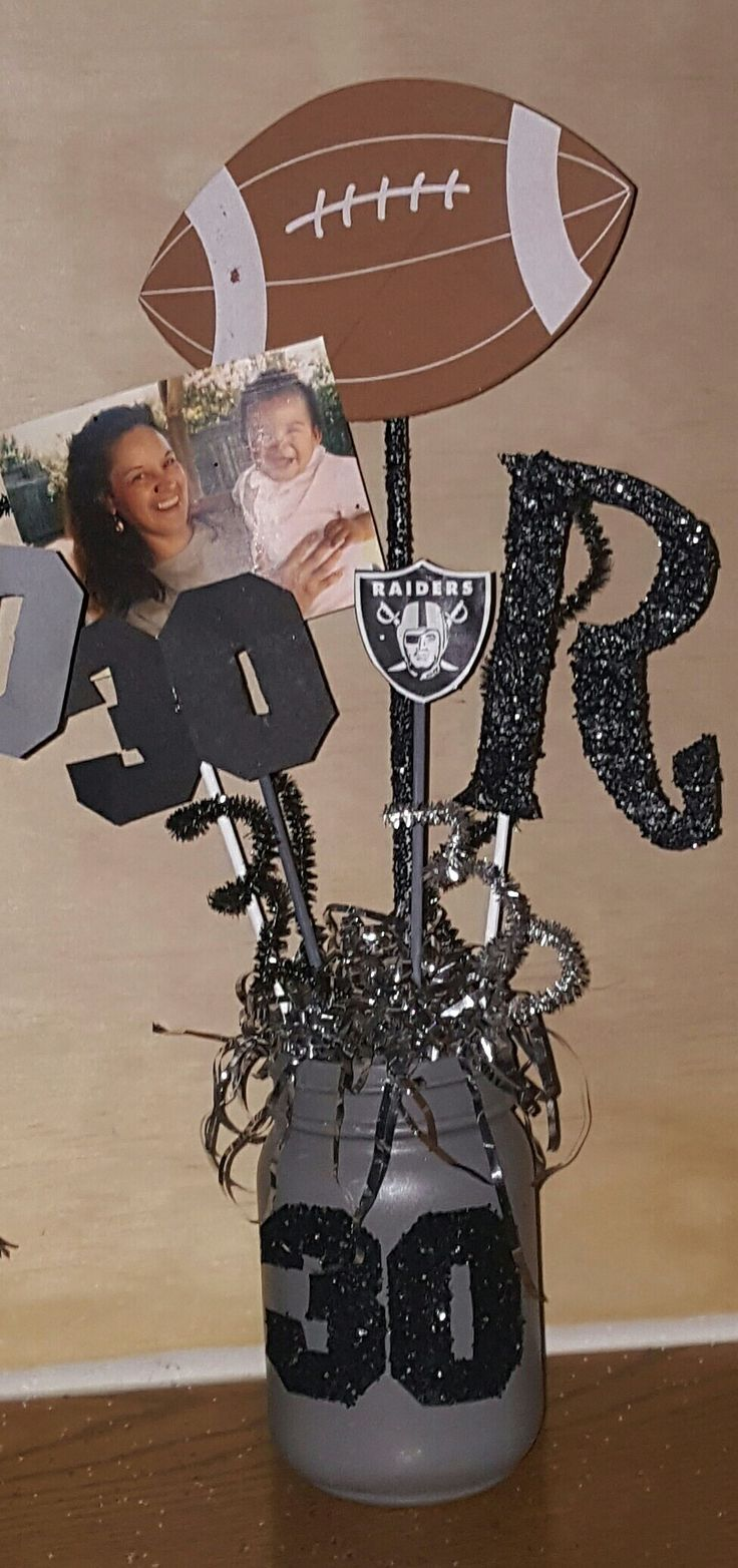 "Raiders theme centerpieces for a ""30""bday party! More"