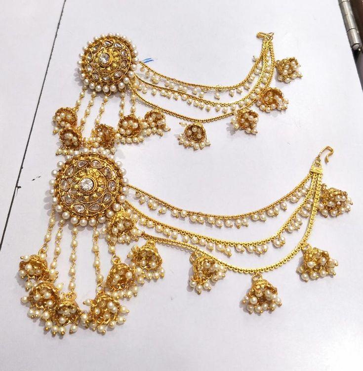 Indian Bollywood Jewelry Gold Plated Wedding Wear Jumka Polki Earring Set #VGSTORE99