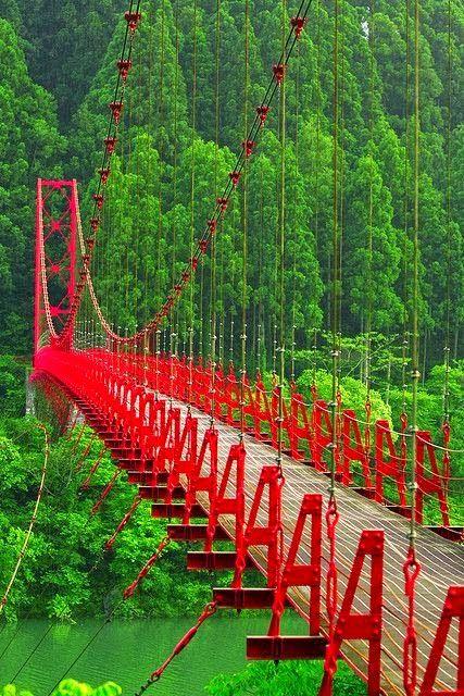 Most Beautiful Red Bridge Japan