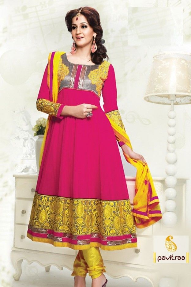 An Superb dark pink and Yellow color embrodeiry Salwar Kameez Will Make You Look Quite Stylish And Graceful. The Chikan Work|Gold Zardosi|Moti|Resham Work Appears To Be Chic And Perfect For Any Event.