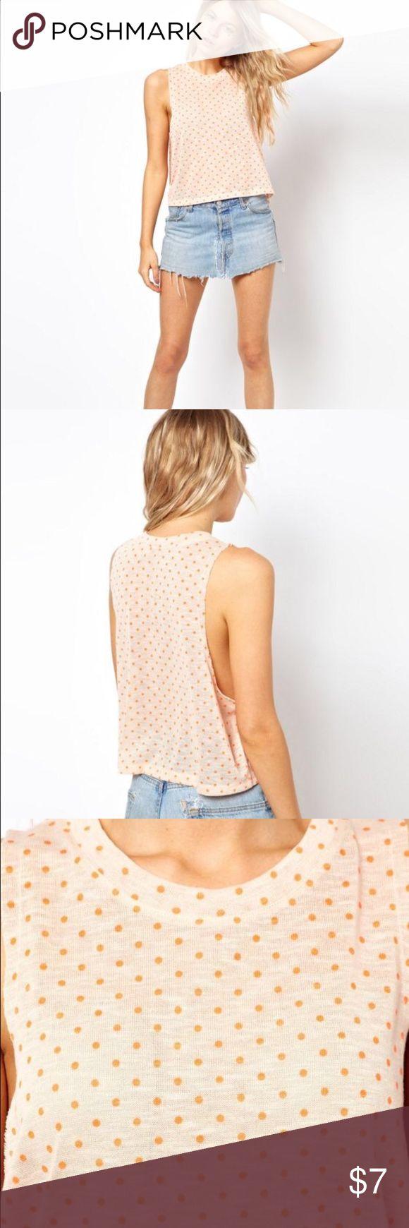 Asos top Cute used crop top. Light Pink with orange dots. ASOS Tops Crop Tops