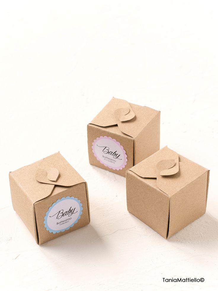 12 Scatole Portaconfetti in Carta Kraft ed Etichetta Battesimo Nascita Matrimonio Laurea Bomboniera Tag Etichette Adesive Carta…