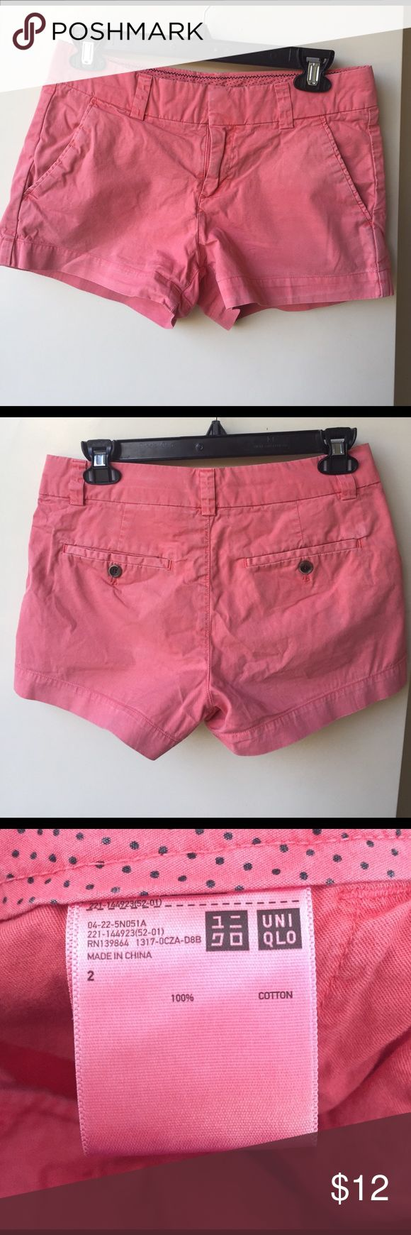 "UNIQLO salmon pink cotton shorts size 2 Cute salmon pink shorts from UNIQLO. 100% cotton. Waist lying flat is about 14.5"". Length is about 10"" from the top. Perfect for spring or summer weather! Uniqlo Shorts"