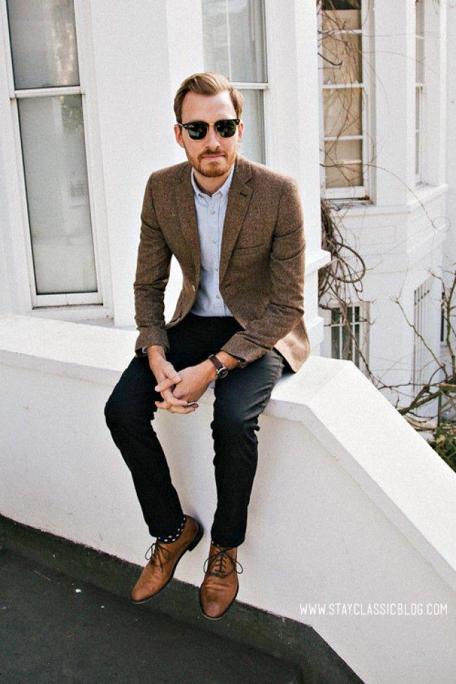 Brown Tweed blazer. Love the polka dotted socks.