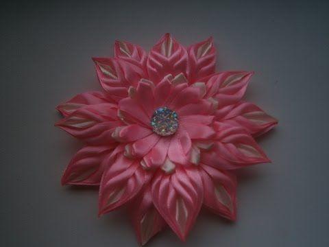 Красивые цветы канзаши из узкой ленты 0,6 см, МК./Flowers of the narrow strip is 0.6 cm, MK. - YouTube